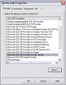 UDL Data Source Configuration - The Provider Tab