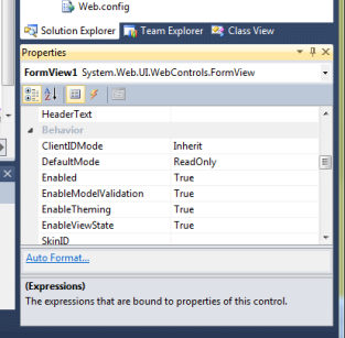 Set the Default State of your FormView Control to ReadOnly
