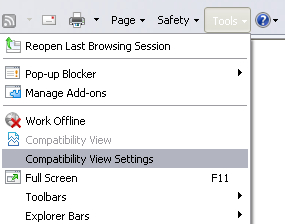 Compatibility View Option for IE9