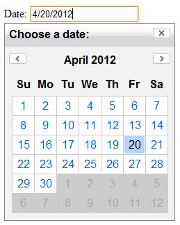 YUI Calendar & Text field