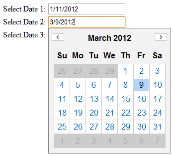 YUI  Calendar for Multiple Text Fields