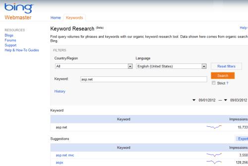 Bing Keyword Research Tool