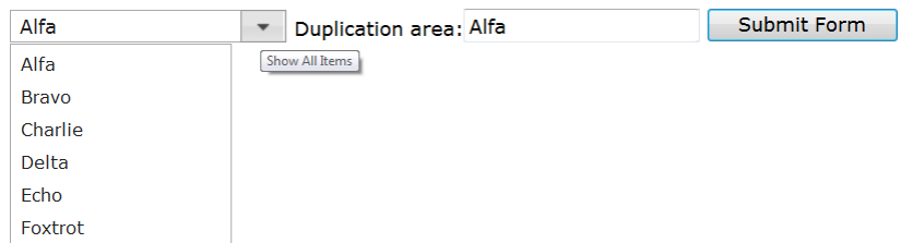 Editable Select List Text Duplication