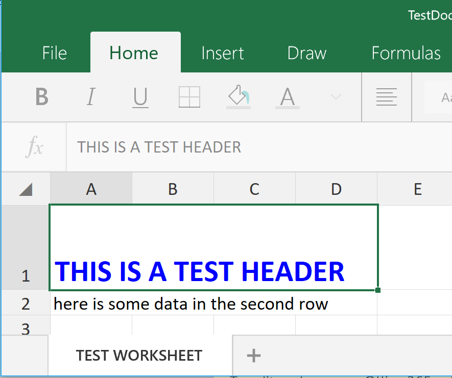 Nice Header Row in Excel