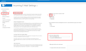 SharePoint Configuring Incoming Emails